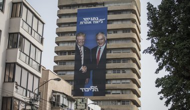 Banner of Benjamin Netanyahu and Donald Trump seen on the head quarter building of the Likud party, 9 April 2019