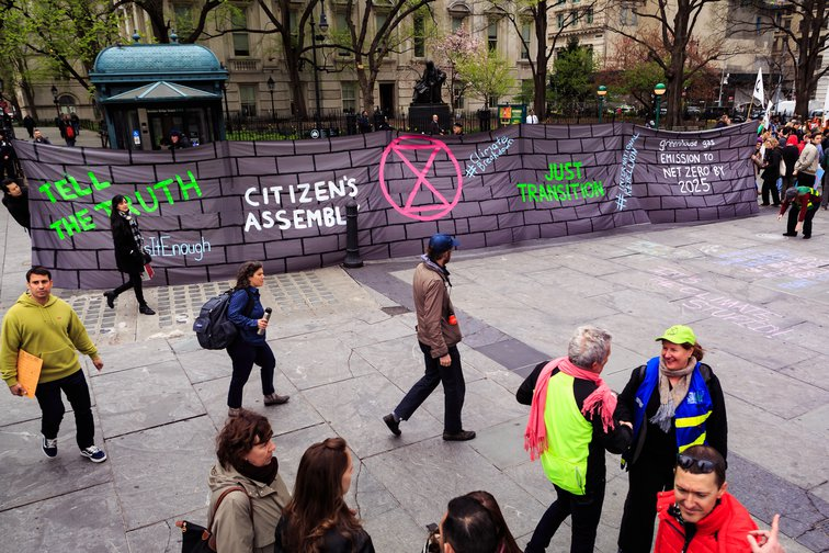 Extinction Rebellion climate activists reach NYC declaring a climate emergency, April 2019.