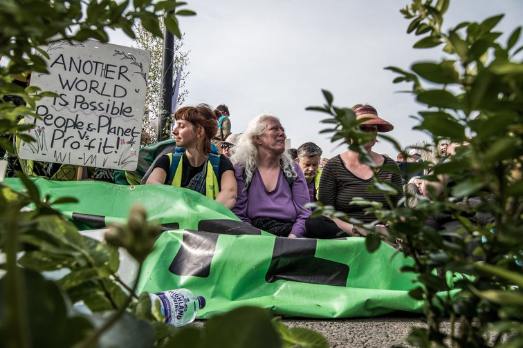 Women blocking Waterloo Bridge during Extinction Rebellion, London April 2019