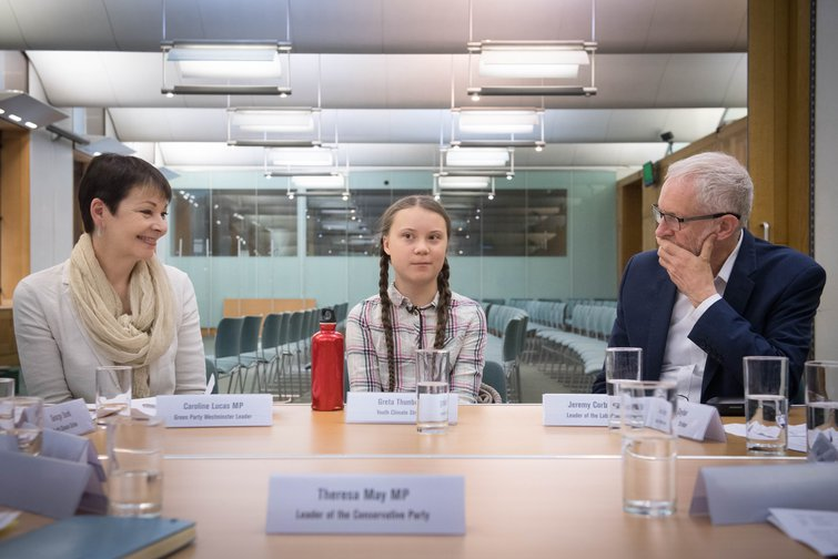 Climate change campaigner Greta Thunberg meeting party leaders earlier this year