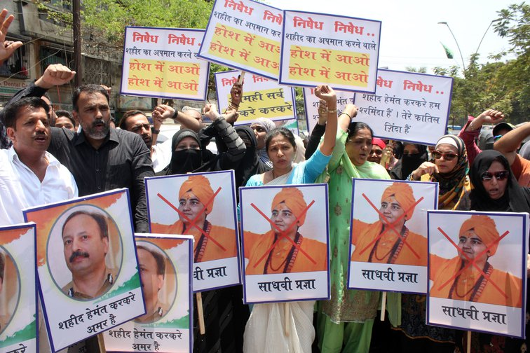 Protests against Sadhvi Pragya Singh Thakur on April 23, 2019 in Thane, India.