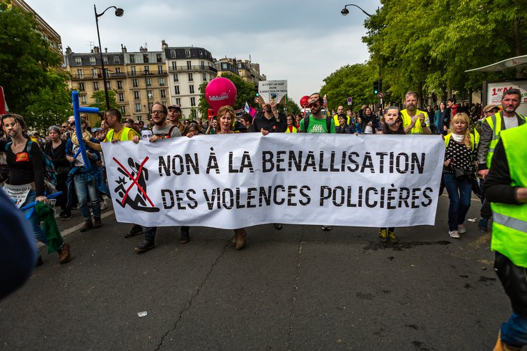 """No to the  Benalla-ization of police violence"". Paris, on May 1, 2019."