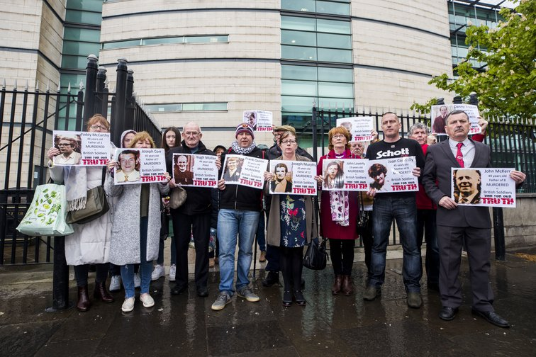 Families of those who died in the Ballymurphy Massacre outside the Inquiry, 8 May 2019