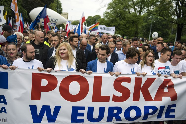 A march organized by the European Coalition (Koalicja Europejska) an alliance of political parties in May.
