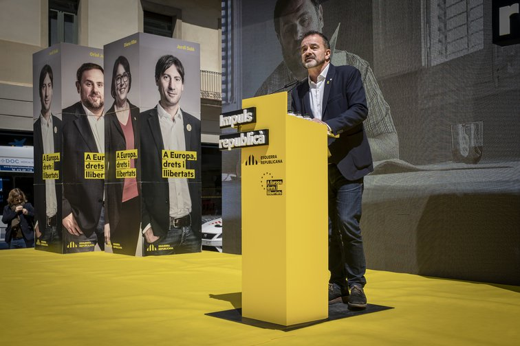 Alfred Bosch speaking during the campaign for the municipal elections and the European Parliament, Barcelona, Spain, May 19, 2019.