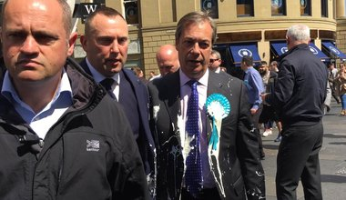 Farage and the milkshake