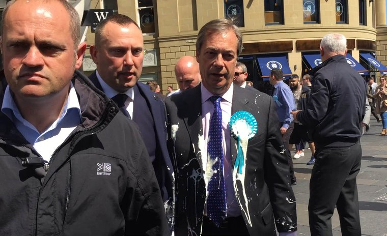 Farage doused in a milkshake in Newcaste walkabout for Brexit party, May, 2019.