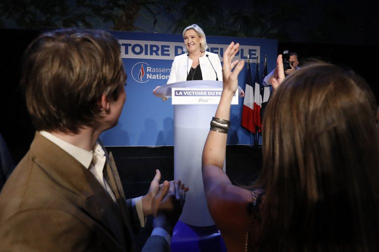 Marine Le Pen announcing European election results in Paris, May, 2019