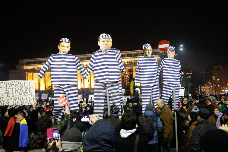 Protest in Bucharest against the proposal by the government to ease anti-graft legislation on 3 February, 2017.