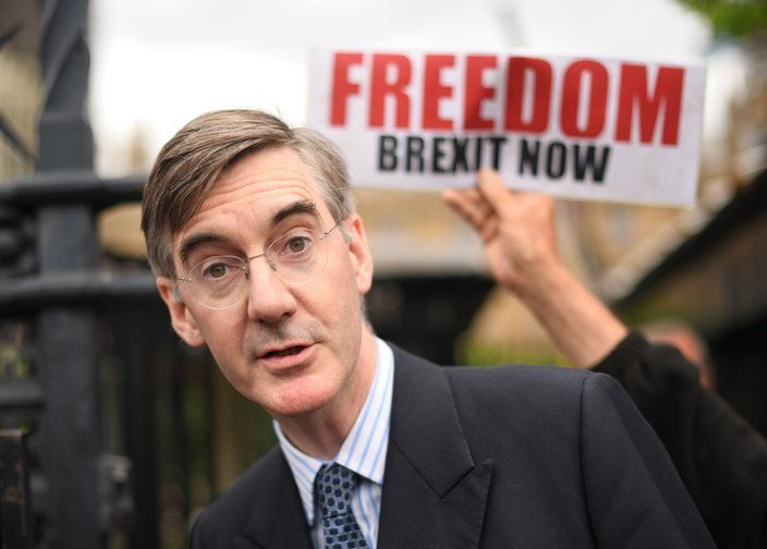 Jacob Rees-Mogg outside the Houses of Parliament in Westminster, London.