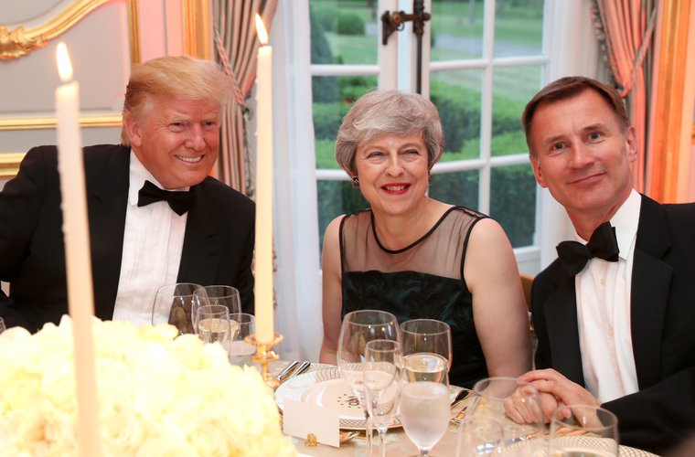 Donald Trump, Theresa May and Jeremy Hunt, dining with the US Ambassador, 4 June 2019