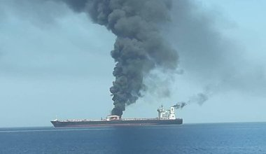 Tanker damaged by bomb in Gulf of Oman June 2019