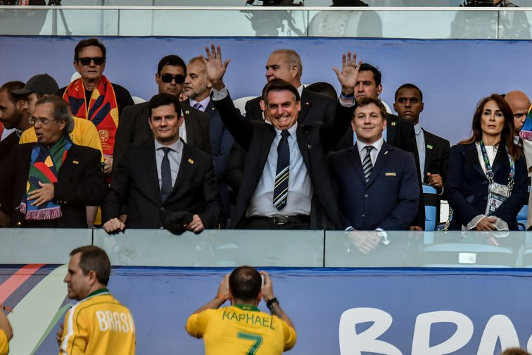 President Jair Bolsonaro and Minister Sergio Moro during a match between Brazil and Peru, valid for the Copa America 2019 final in Rio de Janeiro