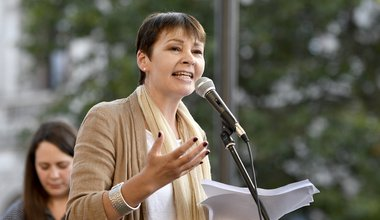 Caroline Lucas speaks at a protest against Boris Johnson