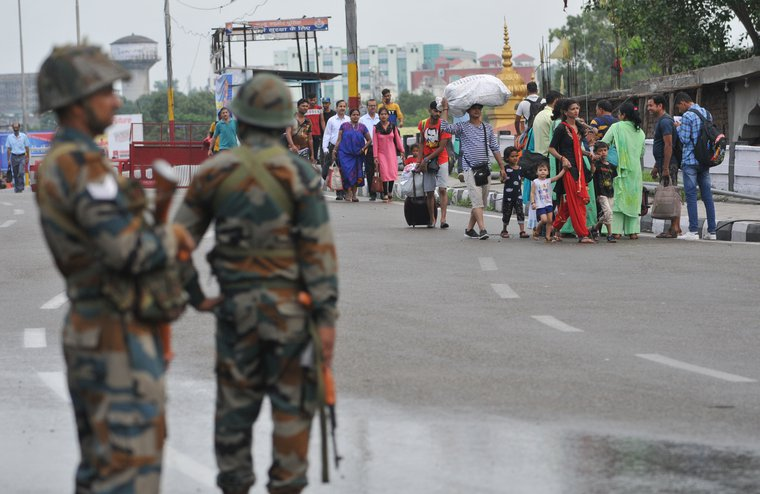 Indian army personnel stand guard in Jammu after the revoking of Kashmir's special status.