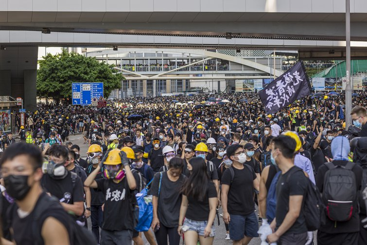 Hongkongers take to the streets during a general strike earlier this month.