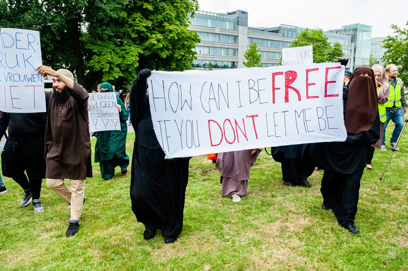 Demonstration against the burqa ban in The Hague, Netherlands - 09 Aug 2019.