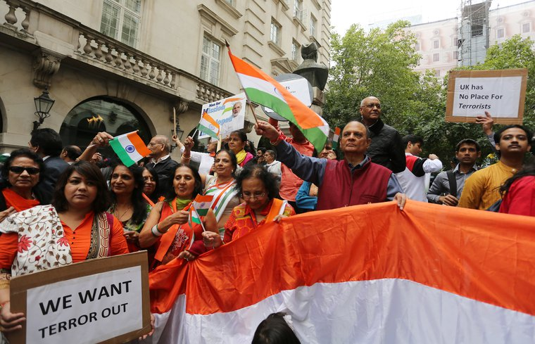 Pro-Modi supporters at the Indian High Commission in August