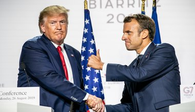 Emmanuel Macron and Donald Trump during the closing press conference of the G7 Summit, 26 August 2019