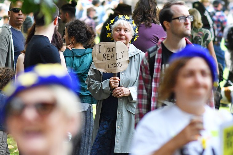 "Woman in a crowd holding a small sign reading ""I am really cross"""