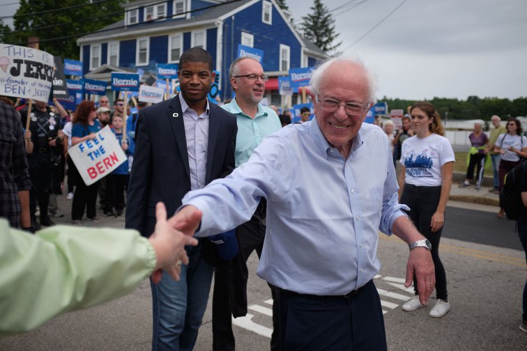 Bernie Sanders on the Milford new Hampshire Labor Day Parade.