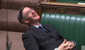 Jacob Rees-Mogg lying on the Commons bench, 3 September 2019