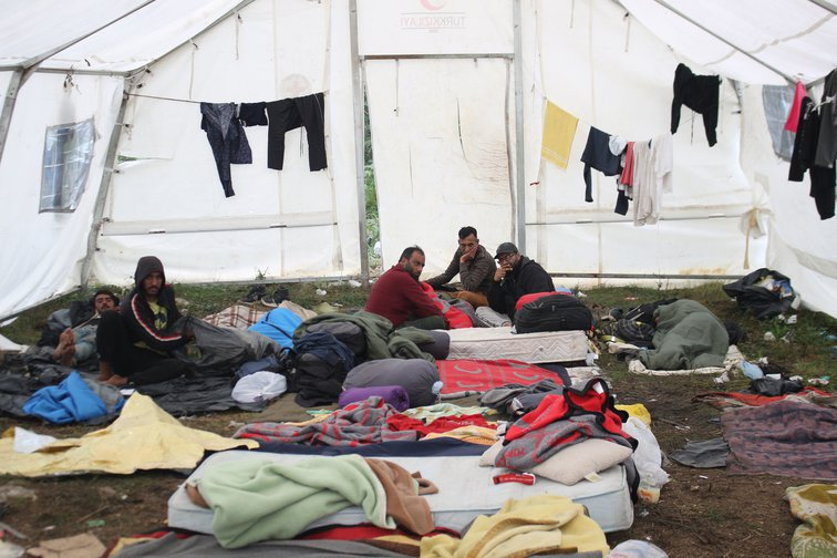 Inside a tent in the improvised refugee camp Vucjak, September 2019.