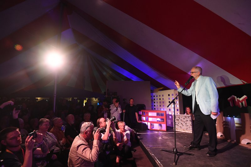 Jeremy Corbyn speaks at the The World Transformed (TWT) opening rally at the Old Steine Gardens during the Labour Party Conference in Brighton, 21 Sep 2019