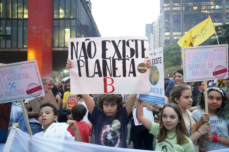 Schoolchildren hold up placards at a march in São Paulo during the global climate strike on 20 September, 2019.