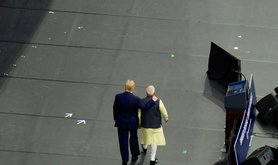 Donald Trump and Narendra Modi on stage at a rally in Houston, 22 September 2019