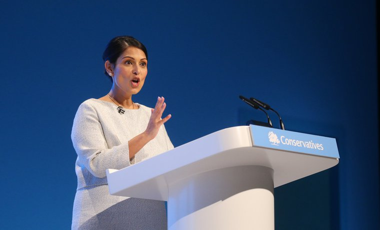 Priti Patel speaking at the Conservative Party conference in 2019.