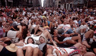 "ACT UP (AIDS Coalition to Unleash Power) ""die-in"" on Fifth Avenue, New York, in June 1990"