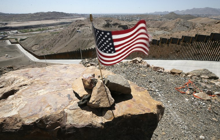The first-ever privately funded wall, in Sunland Park, New Mexico, June, 2019.
