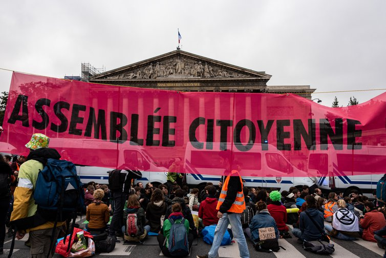 Last day of Extinction Rebellion's 'October Rebellion' in front of the French National Assembly, October 12, 2019.