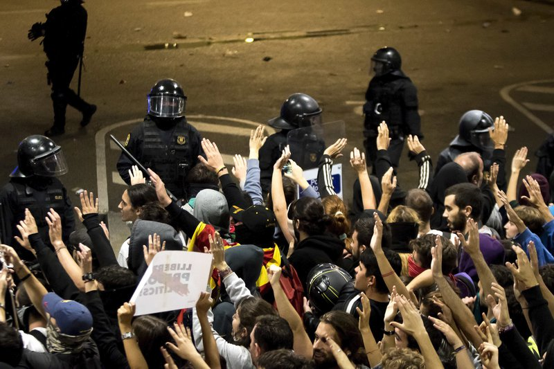 Protesters occupy Barcelona airport, after Catalonian independence leaders are sentenced, Octber 2019.