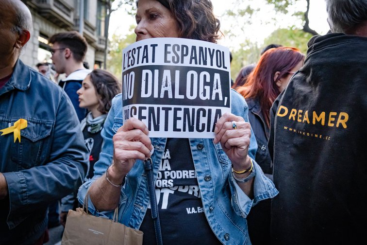 Second day of independence protests after the judgments of the Supreme Court, Barcelona, October 15, 2019.