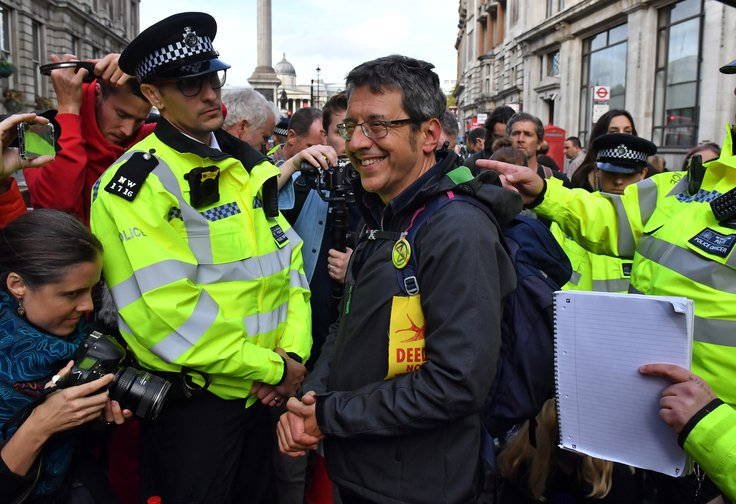 George Monbiot after being removed from Trafalgar Square during an Extinction Rebellion protest, October, 2019.