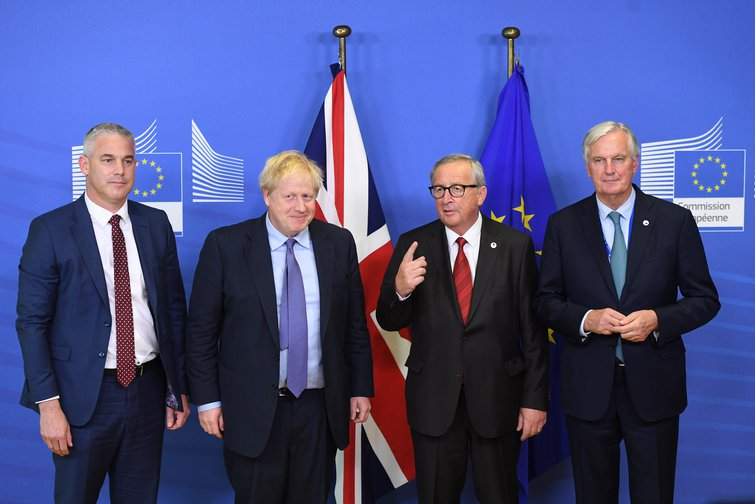 Brexit Secretary Stephen Barclay, Prime Minister Boris Johnson, Jean-Claude Juncker, President of the European Commission, and Michel Barnier, the EU's Chief Brexit Negotiator, October 17, 2019.