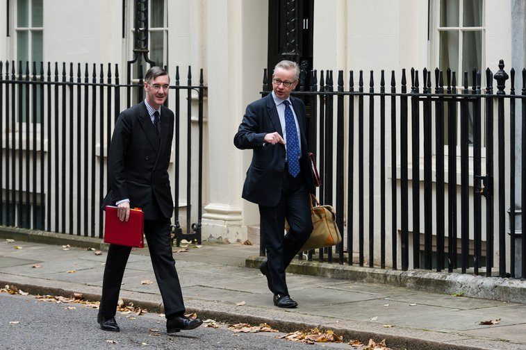 Leader of the House of Commons Jacob Rees-Mogg and Chancellor of the Duchy of Lancaster Michael Gove arrive for Cabinet meeting on 29 October, 2019.