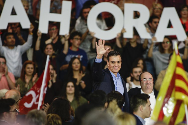 Pedro Sanchez, Spain's PM (PSOE candidate) as electoral campaign begins. Barcelona, .October 30, 2019.