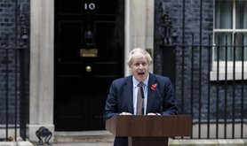Boris Johnson at podium outside 10 Downing Street, 6 November 2019