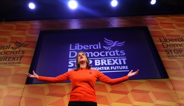 Liberal Democrats leader Jo Swinson makes a speech at a rally at the Battersea Arts Centre in Lavender Hill