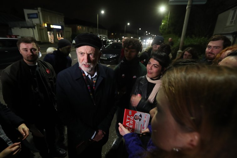 Jeremy Corbyn canvassing with Labour activists in Govan, Glasgow, General Election campaign, November 13, 2019.