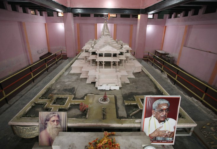 A model of a proposed Ram Hindu temple is displayed in Ayodhya, India, on November 14, 2019.