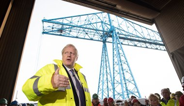 Boris Johnson delivers a stump speech to workers in Stockton-on-Tees 2019