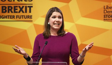 Jo Swinson makes a speech at Prince Philip House in Westminster, London, 28-Nov-2019