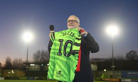 Jeremy Corbyn holds a football shirt presented to him at Forest Green Rovers in Nailsworth, Stroud, while on the General Election campaign trail. 09-Dec-2019