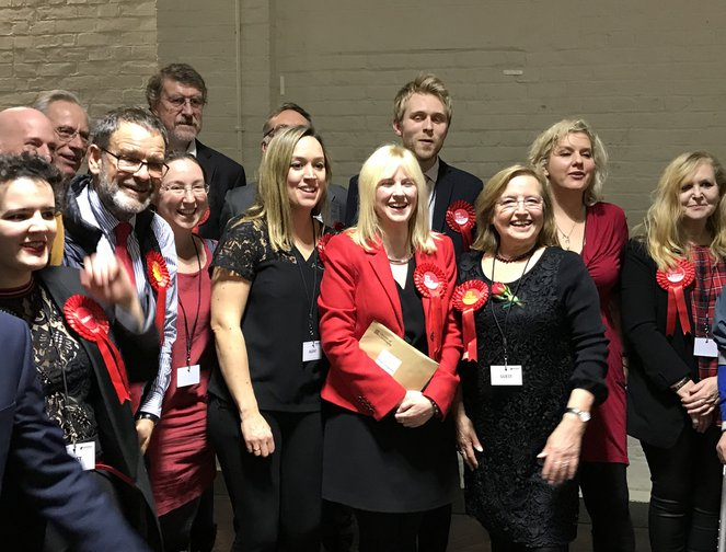 Labour's Rosie Duffield celebrates after being re-elected in Canterbury, Kent in the 2019 General Election.