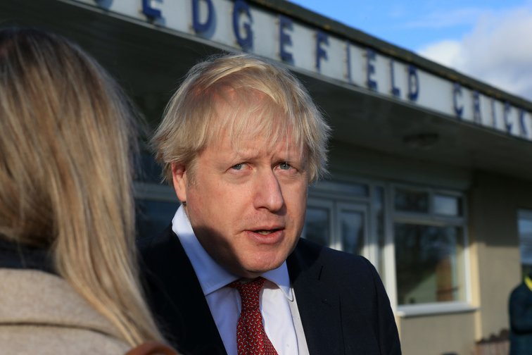 Boris Johnson visiting Sedgefield, the former constituency of Tony Blair, following his party's election win in December.
