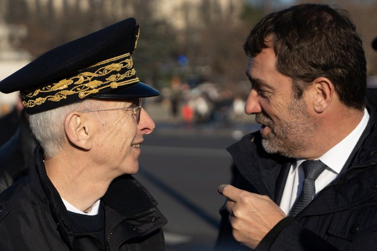 Minister of the Interior, Christophe Castaner, and Prefect of Police of Paris, Didier Lallement, on December 30, 2019.